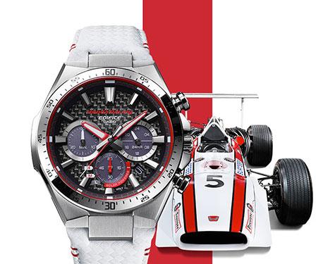 Edifice Honda Racing Limitirani model  EQS-800HR-1A odaje počast istoriji Honda Motor kompanije i čuvenog Honda Racing nasleđa.