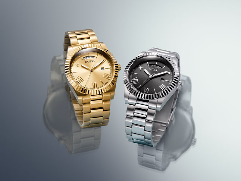 """<span style=""""color: #fff"""">GUESS WATCHES<br>- CONNOISSEUR"""