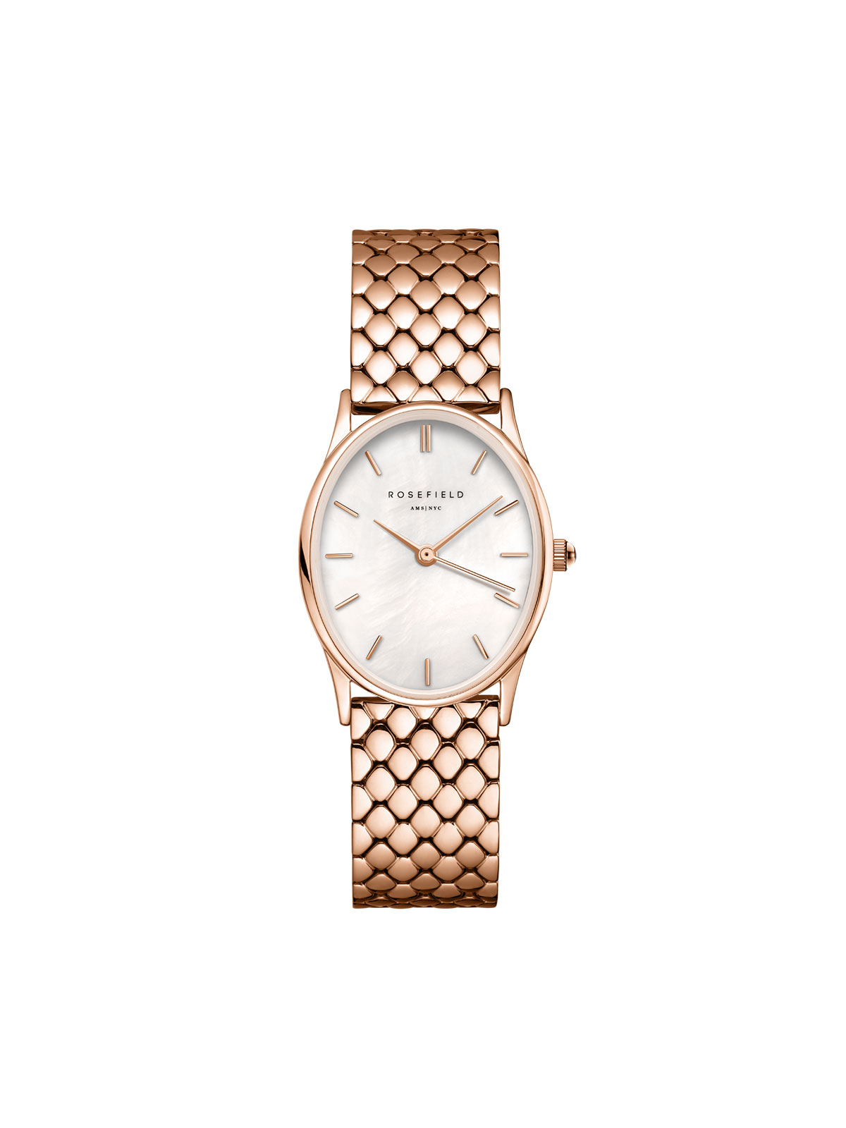 The Oval White MOP Steel Rose Gold