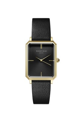 The Octagon Black Sunray Black Leather Gold